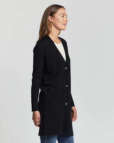 WOMEN'S TIMELESS MERINO LONG CARDIGAN, BLACK, large