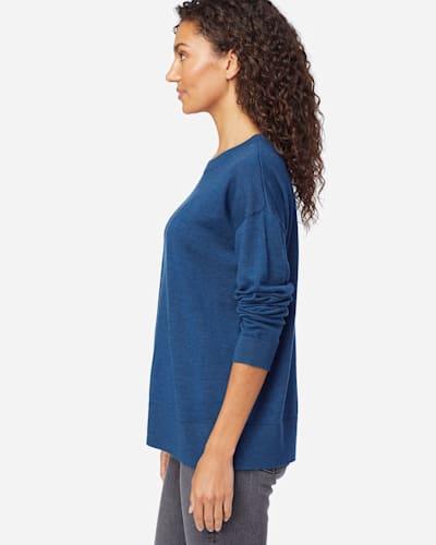 WOMEN'S TIMELESS MERINO CREW SWEATER IN MOROCCAN BLUE