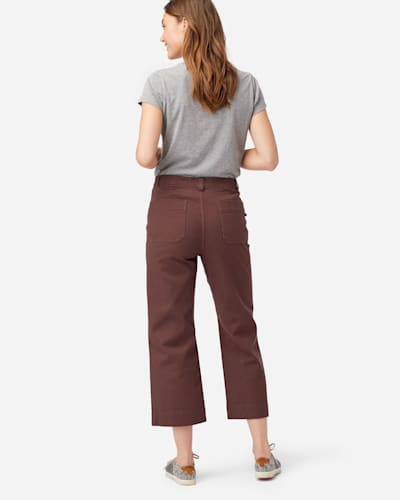 WOMEN'S HIGH-WAISTED CROPPED PANTS IN RUSTIC PLUM