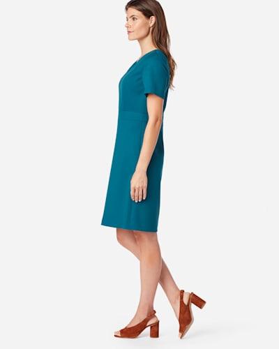 SEASONLESS WOOL SHORT-SLEEVE DRESS IN MOROCCAN BLUE