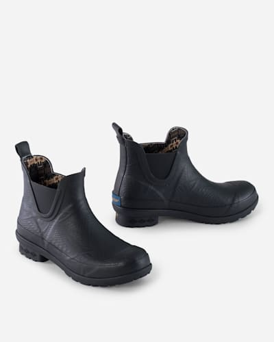 EMBOSSED CHELSEA RAIN BOOTS IN BLACK