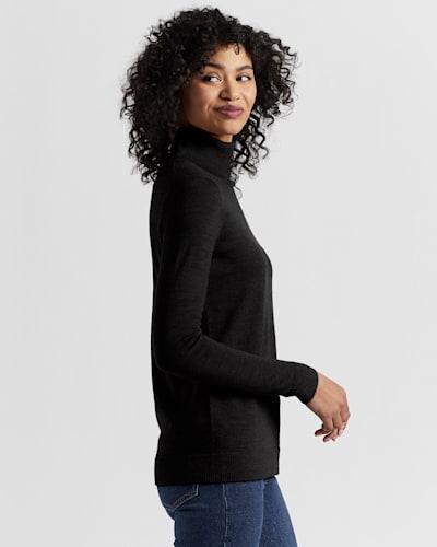 WOMEN'S TIMELESS MERINO TURTLENECK, BLACK, large
