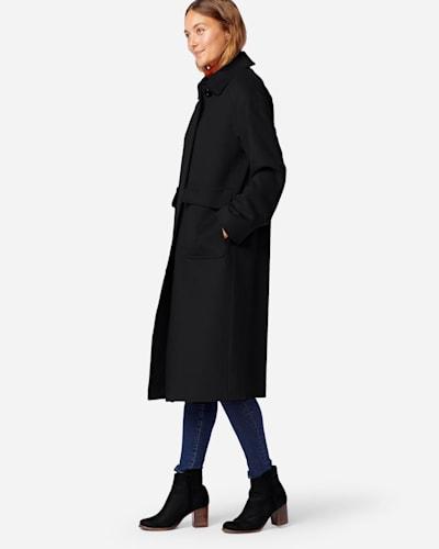 LONG WOOL COAT IN BLACK