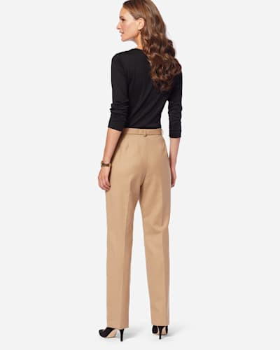 WORSTED WOOL FLANNEL TRUE FIT TROUSERS IN CAMEL MIX