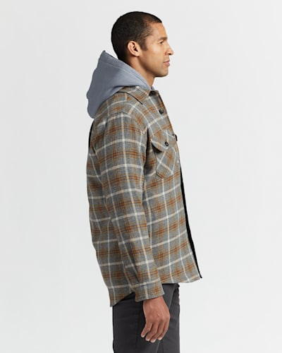 MEN'S QUILTED SHIRT JACKET IN TAN/BLACK/GREY OMBRE