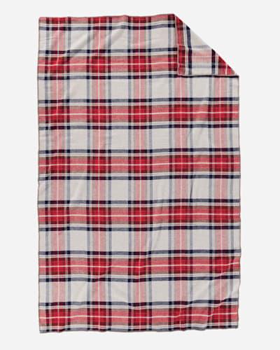 ECO-WISE WOOL PLAID/STRIPE BLANKET IN VINTAGE DRESS STEWART FOLDED