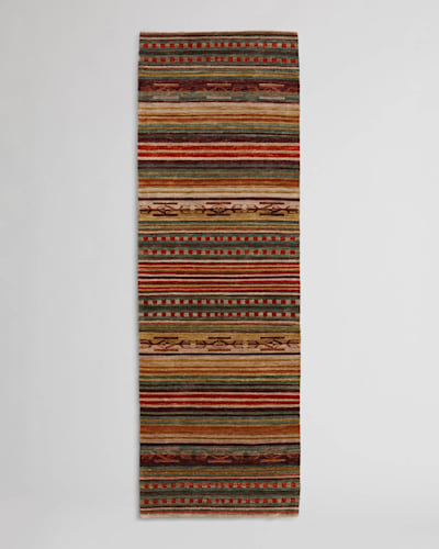 HANDMADE CHIMAYO RUG, CORAL/NATURAL STRIPE, large
