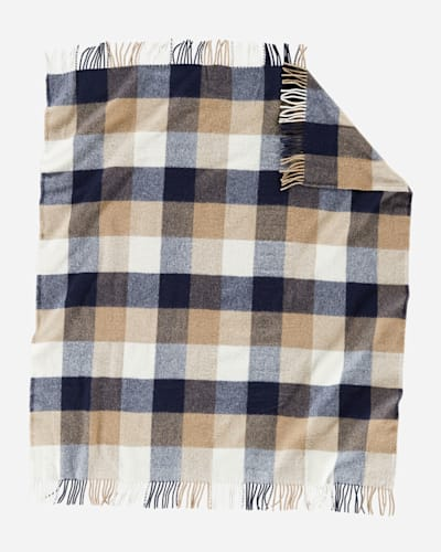ECO-WISE WOOL FRINGED THROW IN NAVY/CAMEL