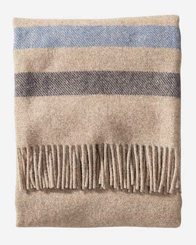 ECO-WISE WOOL FRINGED THROW IN FAWN STRIPE