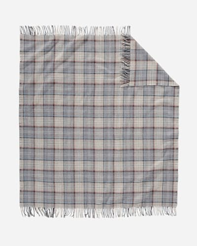 ECO-WISE WOOL FRINGED THROW IN PEARL PLAID