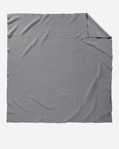 LATTICE WEAVE BED BLANKET IN GREY/SLATE