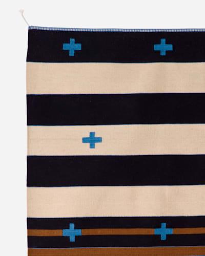 TURQUOISE CROSSES RUG IN CREAM/BLUE