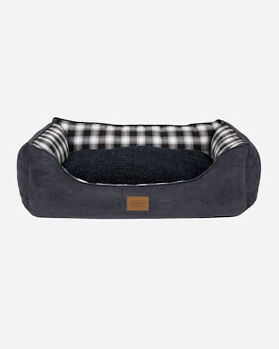 CHARCOAL OMBRE PLAID KUDDLER DOG BED IN SIZE MEDIUM