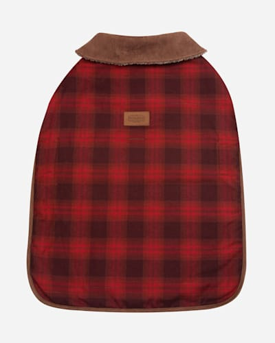 RED OMBRE PLAID DOG COAT IN SIZE SMALL