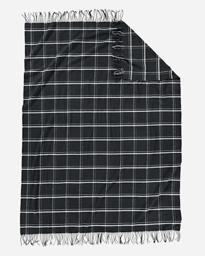 5TH AVENUE WINDOWPANE MERINO THROW IN BLACK