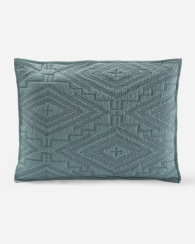 SUNSET CROSS STITCHED COVERLET, DEEP TEAL, large